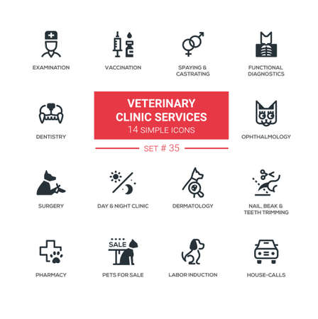 spaying: Veterinary clinic services - Modern simple icons, pictograms set