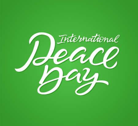 International Peace Day - vector hand drawn brush pen lettering Çizim