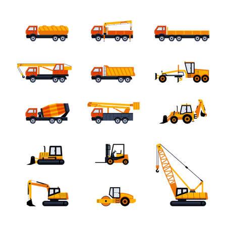Construction Vehicles - modern vector flat design icons set Illustration