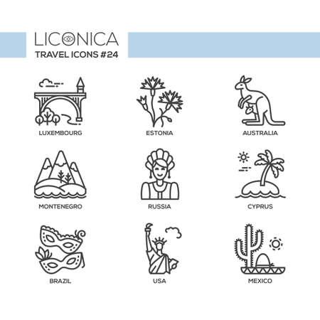 Reizen - moderne vector platte lijn ontwerp pictogrammen instellen. Luxemburg, Estland, Australië, Montenegro, Rusland, Cyprus, Brazilië, VS, Mexico. Ga op reis, heb een veilige en interessante reis, avontuur.
