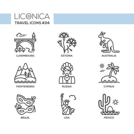 Travel - modern vector flat line design icons set. Luxembourg, Estonia, Australia, Montenegro, Russia, Cyprus, Brazil, USA, Mexico. Be on a journey, have a safe and interesting trip, adventure.