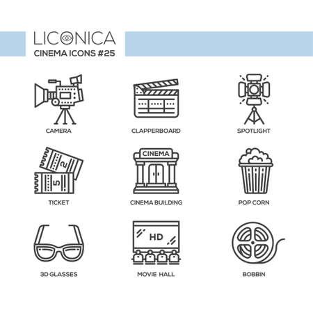 Cinema - modern vector flat line design icons set.