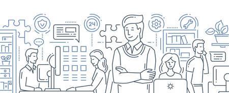 Unser Team - Illustration des Vektors moderne Linie flache Designzusammensetzung. Männer und Frauen an ihren Arbeitsplätzen. Büroleben, technischer Kundendienst des Kunden