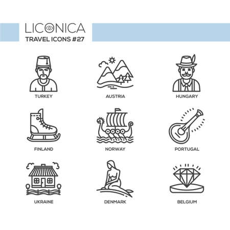 Travel - modern vector flat line design icons set. Turkey, Austria, Hungary, Finland, Norway, Portugal, Ukraine, Denmark, Belgium. Be on a journey, have a safe and interesting trip, adventure. Ilustração