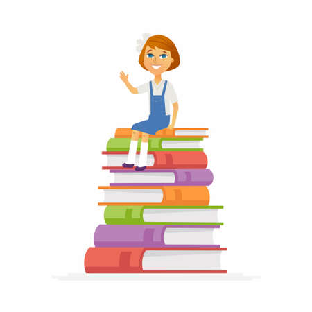 School Girl - modern vector people character illustration of happy child, kid sitting on pile of books, waving hand, and smiling.