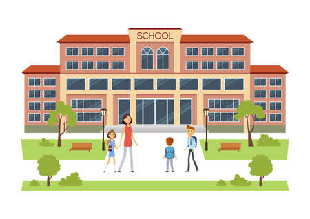 Back to School - modern vector educational facilities building illustration with happy boys and girl with their parents going into.