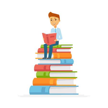 School Boy - character of happy kid sitting on books