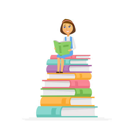 School Girl - modern vector people character illustration of happy teenager child, kid sitting on pile of books reading. A senior student get ready to learn, study, for a new academic year, knowledge Illustration