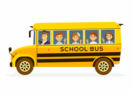 School Bus - modern vector people characters illustration of happy boys and girls in the yellow vehicle with a male driver on their way to learn, study. Illustration
