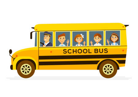School Bus - modern vector people characters illustration of happy boys and girls in the yellow vehicle with a male driver on their way to learn, study. Banque d'images