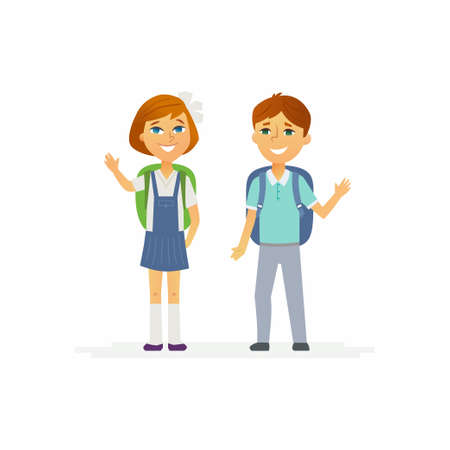 School Children - characters of happy boy and girl Ilustracja