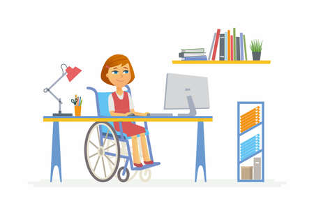 Online education - modern vector illustration of happy disabled junior school girl student working at the PC, doing home work. Pupil sitting in wheelchair at monitor, having a lesson, courses, webinar Ilustração
