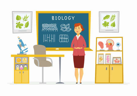 Biology Classroom - modern vector character illustration of senior female school teacher at the blackboard with lettering, educational pictures. Botanic, anatomy visual aids, microscope
