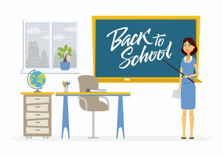 Back to school - character of a teacher with calligraphy lettering Illustration