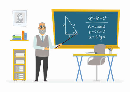 Geometry Classroom - modern vector character illustration of senior male school teacher of mathematics at the blackboard.