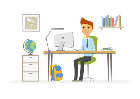 オンライン教育 - コンピューターの前に自宅に男子生徒のイラスト  イラスト・ベクター素材