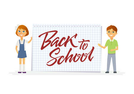 Back to school - modern vector people characters illustration of happy boy and girl at the graph ruled notepad sheet with hand written calligraphy lettering. Junior students with brush pen writing Illustration