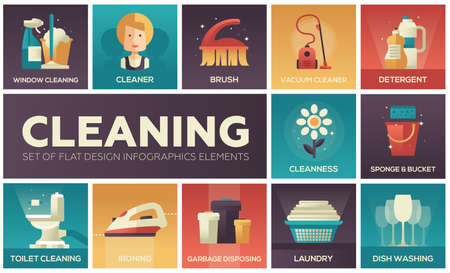 Cleaning - modern vector line design icons set with gradient colors. Illustration
