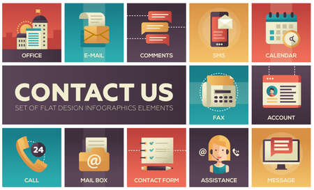 Contact Us - vector modern flat design icons set Illustration