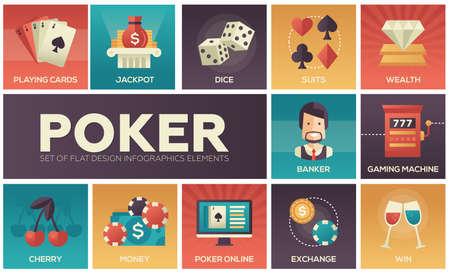 Poker - vector modern flat design icons set