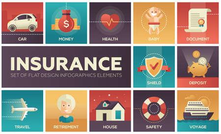Types of Insurance - vector modern flat design icons set