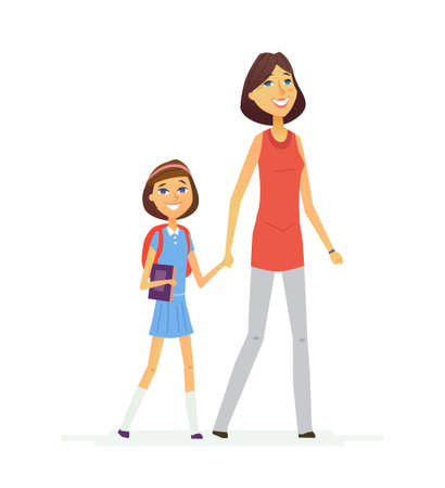 Walk To School- modern vector people characters composition