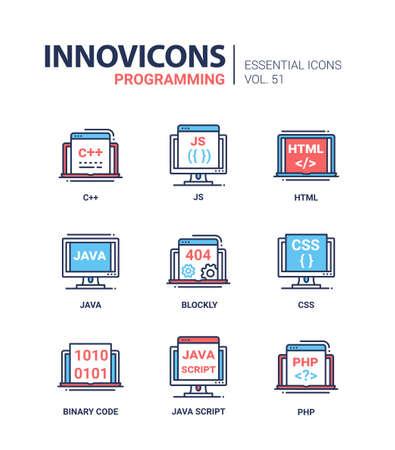 Programmation - icônes vectorielles ligne modernes ensemble Banque d'images - 83599144