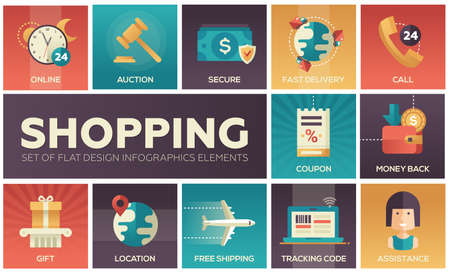Set of modern vector flat design icons of shopping process elements. Online, secure, delivery, auction, coupon, assistance, call, location, tracking code, gift, money back, shipping