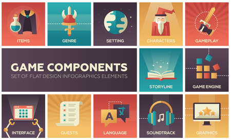 Computer Game Components - modern vector flat design icons set. Genre, engine, setting, gameplay, storyline, soundtrack, graphics, interface character item quest language localization, patch, help Illustration