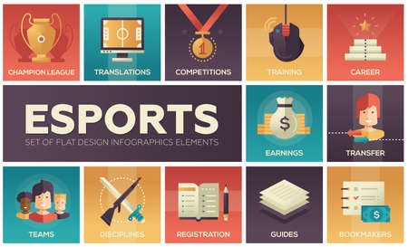Esports - modern vector flat design icons set. News, player registration, parties, guides, training, transfer, earnings, competitions, champion, bookmakers, sponsors Vectores