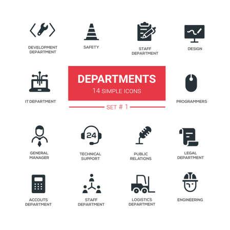 Kantoorafdelingen - lijn ontwerp pictogrammen en pictogrammen instellen