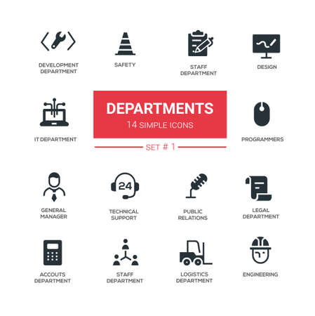 Office departments - line design icons and pictograms set