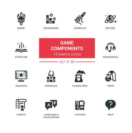 Game Components - modern vector line design pictograms set
