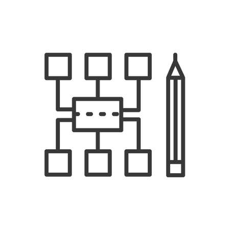Sitemap - modern vector line design icon. 向量圖像