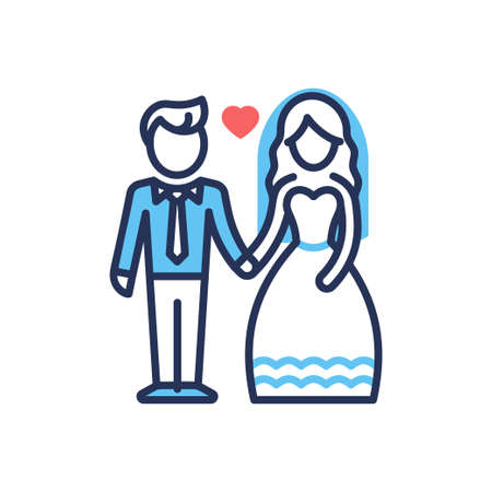 Groom and Bride - modern vector line design icon. Illustration