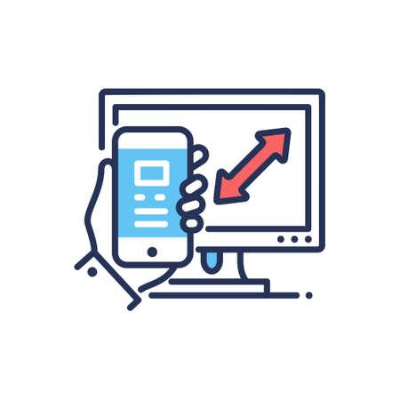 Responsive Design - modern vector line design icon. Illustration