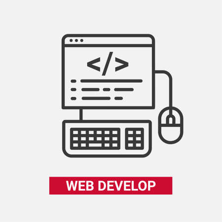 Web Develop - modern essential vector line design icon.