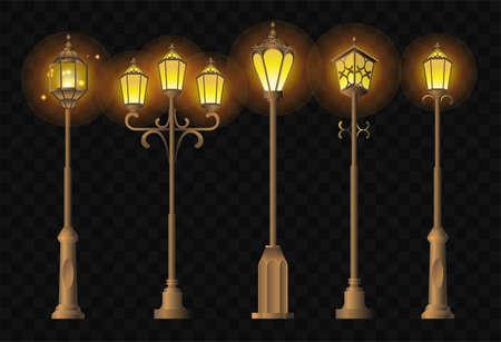 Luzes da rua - clip art realista conjunto de lanternas Foto de archivo - 83929883