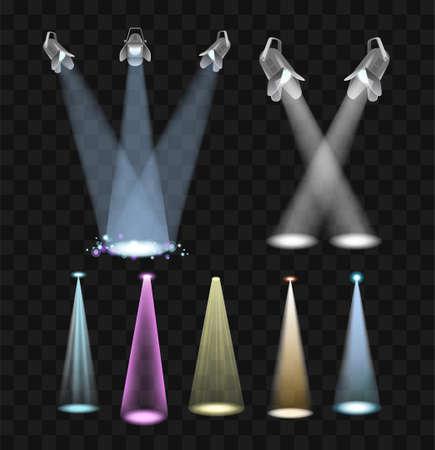 Spotlight effects vector set of projector lights clip art.