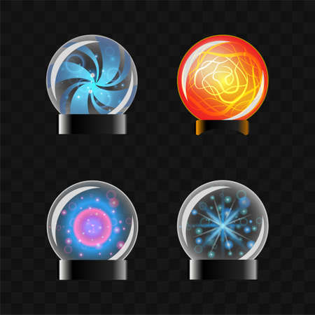 Fortune Sphere - vector set of magical balls clip art