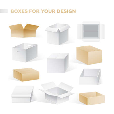 Realistic boxes vector set of cardboard containers clip art. Illusztráció