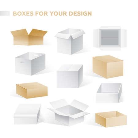 Realistische vakken vector set van kartonnen containers illustraties.
