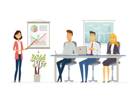 Business Meeting modern vector cartoon characters illustration Vectores