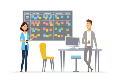 Planning system modern vector cartoon business characters illustration Illustration