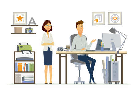 Assistance concept modern vector cartoon business characters illustration Illustration