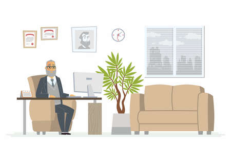Office Head modern vector cartoon business character illustration