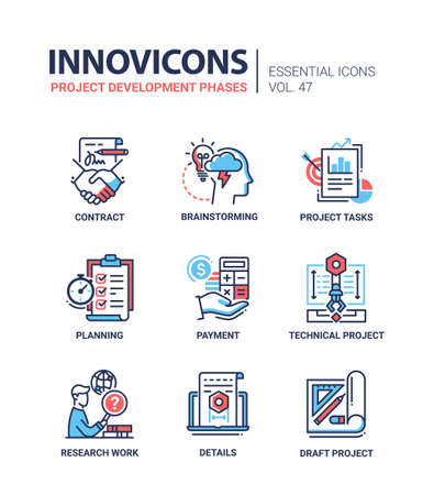 Project Development Phases - modern vector line icons set Vectores