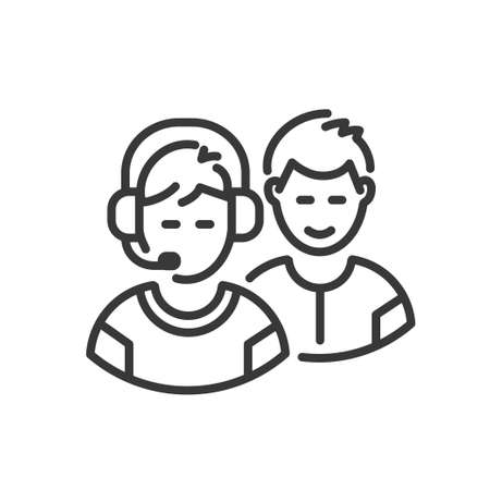 Team - modern vector single line design icon. An image of video gamers, tech support people with headset. Online technology for business, mmog, cyber sport, hobby Illustration