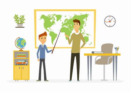 Lección de geografía en la escuela - personajes de dibujos animados modernos personajes ilustración Foto de archivo - 84059252