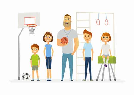 Lección de educación física en la escuela - personajes de dibujos animados modernos personajes ilustración Ilustración de vector